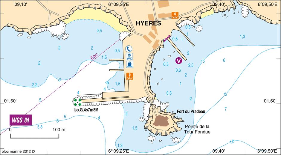 Carte Marine Presqu'ile de Giens Presqu'île de Giens